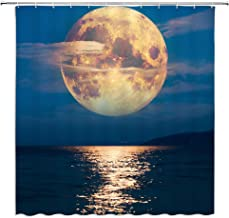 BCNEW Full Moon Shower Curtain Decor Night Above Ocean Sea Blue Sky Cloud Natural Landscape Bathroom Curtain Polyester Fabric Machine Washable with Hooks 70 x 70 Inches (Multi 2143L)