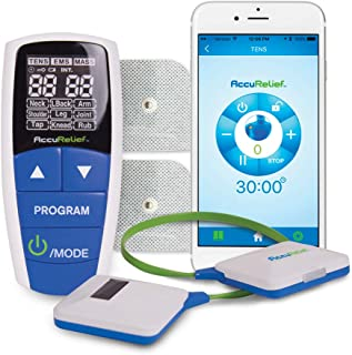 AccuRelief Wireless Tens Unit and EMS Muscle Stimulator - Includes Pulse Massager - Pain Relief Device with Remote and Mobile App