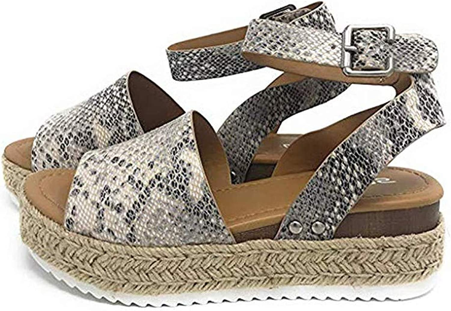 Retro Wedges Sandals Women Summer Peep Toe Buckle Ankle Strappy for Ladies Fashion Flat Lace Up Slingback Platform shoes Casual Comfy Espadrilles (Snake),Snake,38