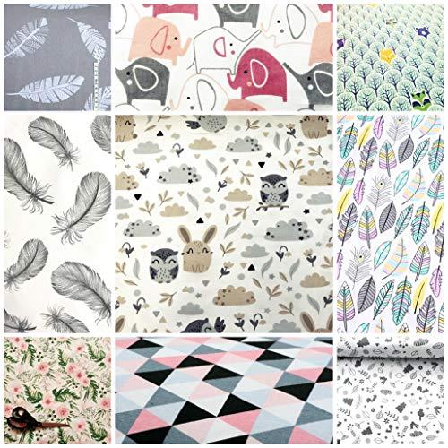 4L Textil Baumwollstoff 100% Stoff Meterware Kinderstoff Baumwolle 50 cm Stoffe zum nähen für Kinder DIY Patchwork Nähen Handwerken Sterne Eulen Grau Weiß Dreiecke Feder (Zufälliges Muster)