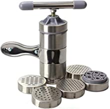 Pasta Maker,Stainless Steel Dough Pasta Noodle Maker Press Spaghetti Machine Cutter Fruits Juicer With 5 Pressing Moulds K...