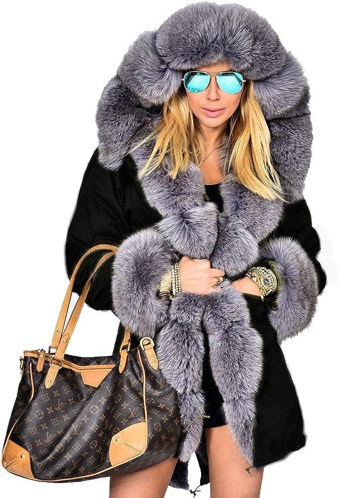 Roiii Women's Warm Winter Coat Hood Parka Overcoat Faux Fur Parka Jacket Outwear