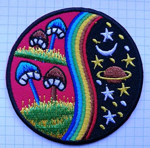 Paddestoel regenboog hippie Geborduurde doek Iron On Patch