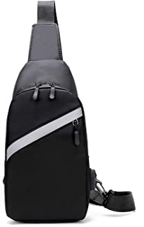 Canvas Sling Bag with USB Charging Port Waterproof Chest Bag Small Shoulder Backpack CrossBody Daypack for Men Women Shopping, Hiking, Camping, School