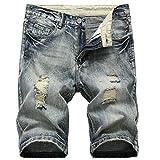 Allthemen Pantaloncini di Jeans da Uomo Pantaloni Corti Strappati con Buco Shorts Casual Estivo Grigio 36W