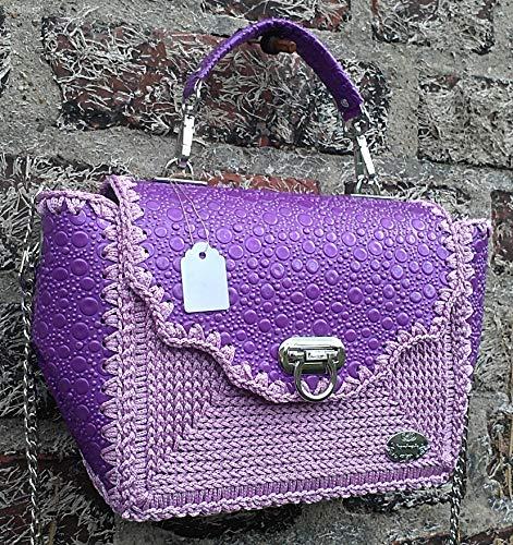 Damen klassische Lack Leder Handtasche. Kleine lila, violett Umhängetasche mit Prägung.Tasche mit Muster. Einzigartige Designer Tasche