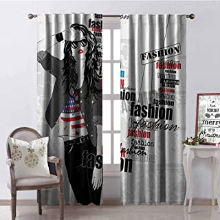 GloriaJohnson Girls Shading Insulated Curtain Modern Teen Girl with USA Flag T-Shirt Fashion Obsession Beauty in The Street Soundproof Shade W52 x L95 Inch Black White Red