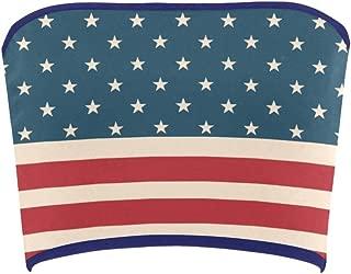 Women's Vintage Distressed American Flag Stars Stripes Tube Bra Bandeau Top
