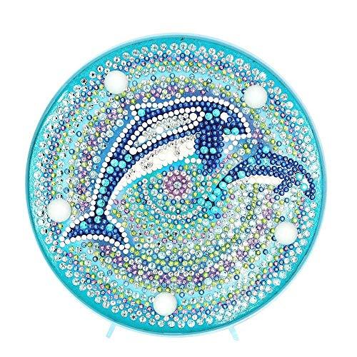 Aeromdale Kit de Flores Con Diseño de Mandala de Diamantes 5d Con Luces Led de Color Blanco Cálido para Dormitorio de Niños Lámpara de Mesa Funciona Con Pilas Delfines Azules