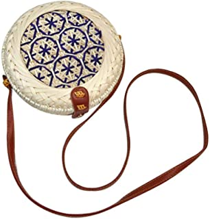 Color Handwoven Round Rattan Bag, Womdee Women Straw Summer Beach Bag Tropical Beach Style Woven Cross Body Bag Shoulder Rattan Bag Handwoven Straw Bag Bamboo Bag for Travel Vacation