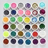 DancingNail 36 Farbe Nagel Farbgel Mischung Glitzer UV Aufbau Gel Kunst Nail Art Glittergel