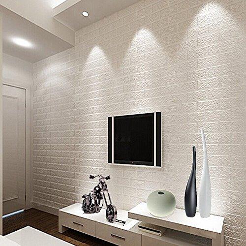 KeTian Papel pintado de pared tridimensional con diseño de pared de ladrillos Papel de PVC con textura 3D para salón para cubrir la pared detrás del televisor blanco 0.53m x10m=5.3m2