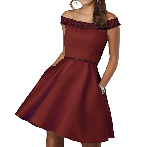 a21de874fd4e Off Shoulder Beaded Homecoming Dress 2018 Satin A-line Short Cocktail Prom  Gown Burgundy 6