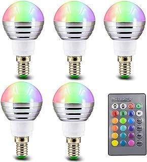 SGJFZD 5PCS 85-265V 110V 220V E14 RGB LED Light Bulb 16 Color Changeable Magic LED Night Light Lamp Dimmable Stage Light 2...