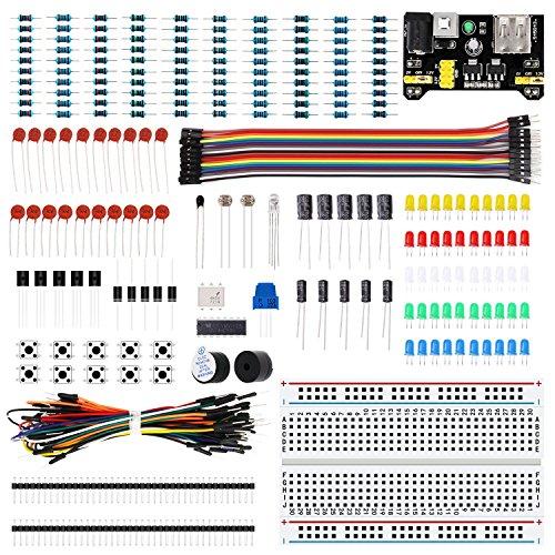 LAFVIN Elektronisches Spaß Bausatz: Paket mit Netzteil, Steckbrett, Widerstand, Kondensator, LED, Potentiometer kompatibel mit Arduino für MEGA2560, Raspberry Pi