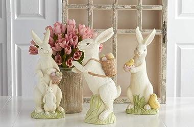 K&K Interiors 20354B Assorted 20 Inch White Resin Glittered Bunnies (3 Styles)