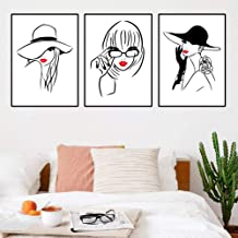 JRTF Red Lip Makeup Girl Canvas Painting Fashion Girl Picture Poster Wall Decor Cartoon Girl Wall Art Canvas Painting -40X50Cmx3 Pcs Frameless