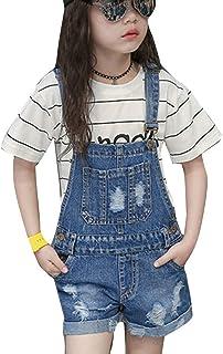 Runyue Niñas Mono Jeans Pantalones Cortos de Peto Largos Vaquero Overalls