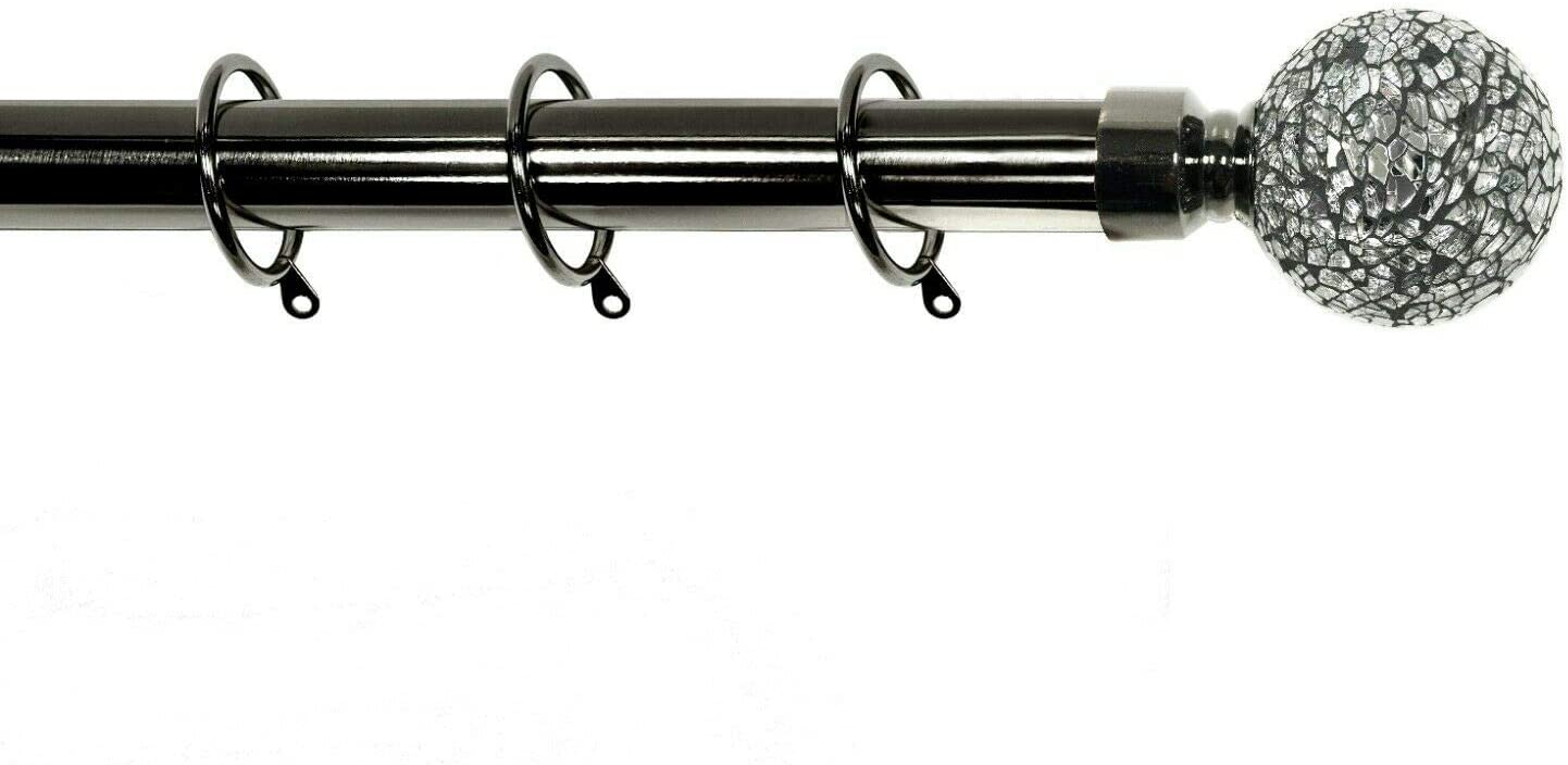 Black Nickel 90-160 cm Kestral Crackle Glass Ball Finials 28 mm Extendable Curtain Poles Rods Voiles