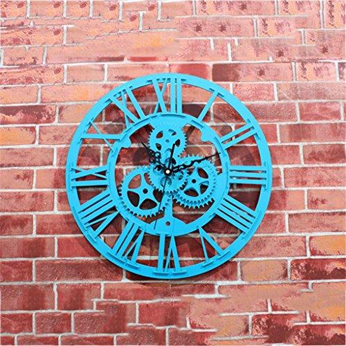 LQ-wall clock Relojes de Pared Reloj de Pared de Madera 3D de la Vendimia Reloj de Pared Grande de la antigüedad del Estilo Europeo, 005