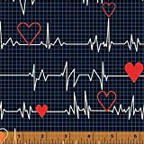 Windham Fabrics Calling All Nurses Heart Beat Black Fabric By The Yard