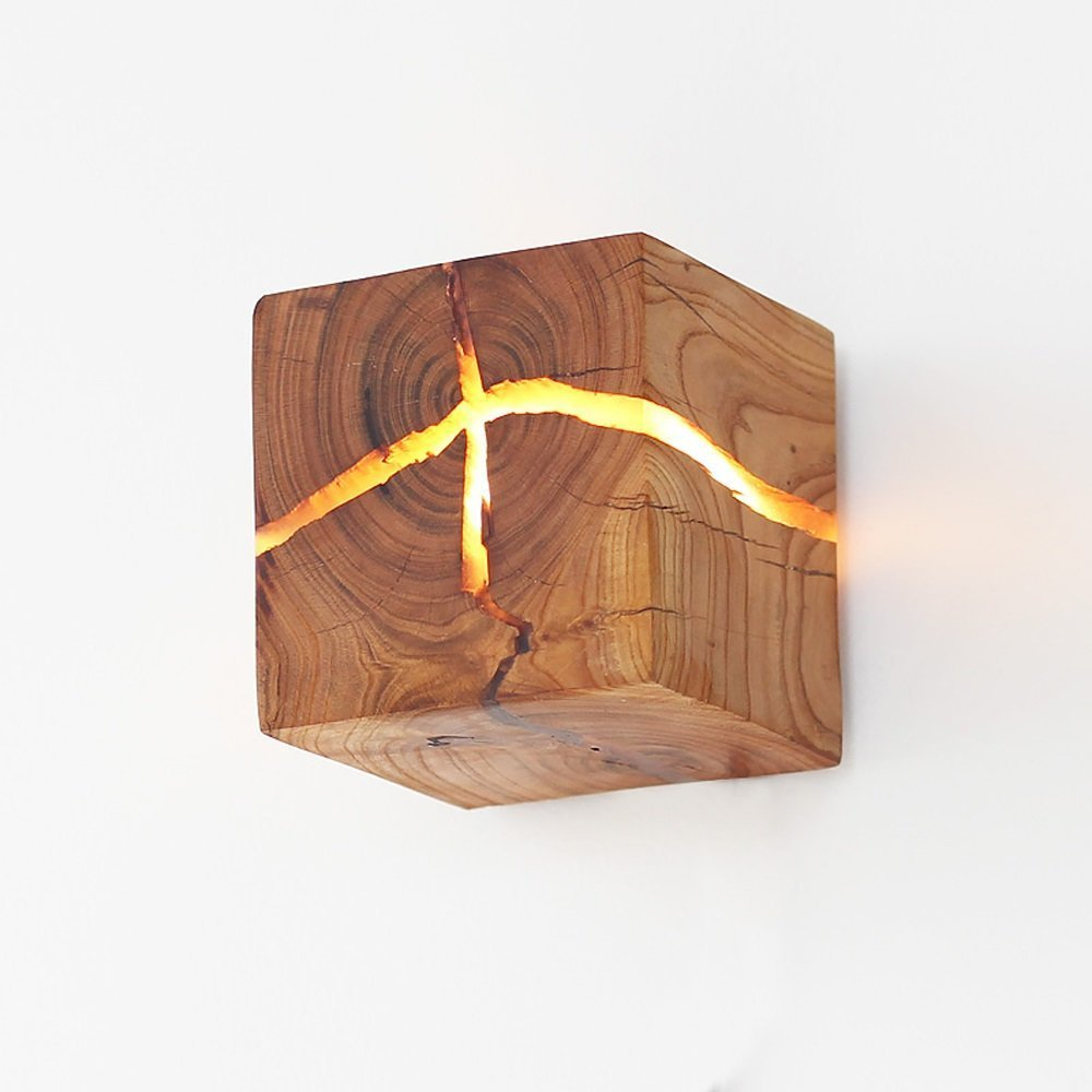 Desinger Registro de madera maciza Crack lámpara de pared Diseño creativo Corredor luces escalera luz decorativa luces Led luz de pared Simple moderno azúcar pared rústica natural aplique: Amazon.es: Hogar