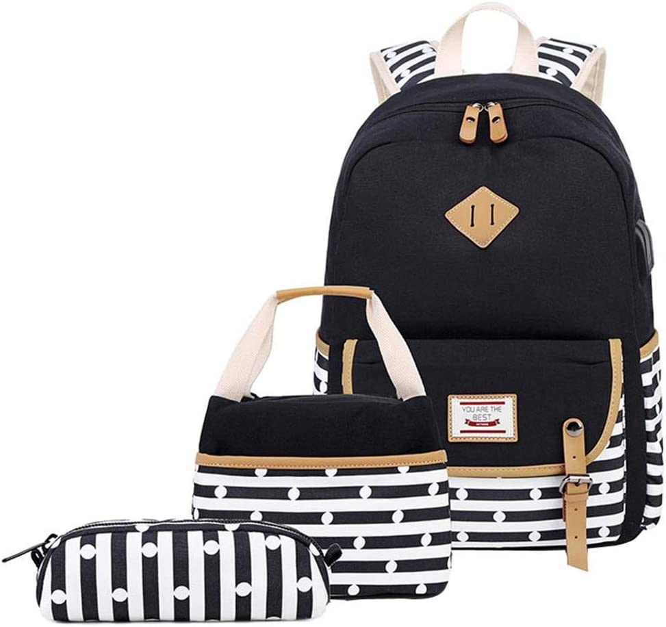 Bansusu 3Pcs Stripes Dot Womens Ranking TOP3 School Bag Quality inspection Casual Daypack Canvas
