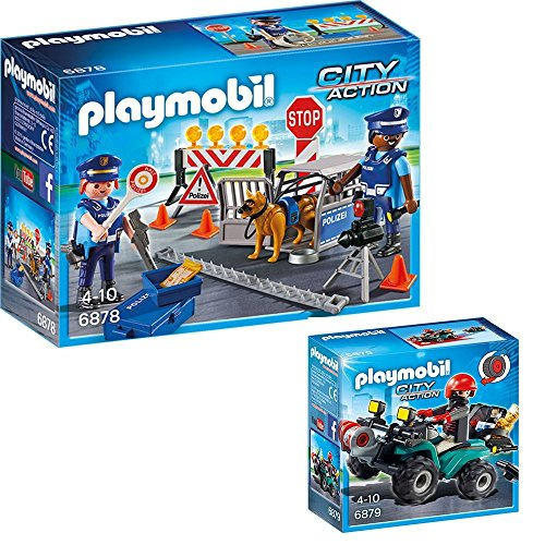 PLAYMOBIL® City Action 2er Set 6878 6879 Polizei-Straßensperre + Ganoven-Quad mit Seilwinde