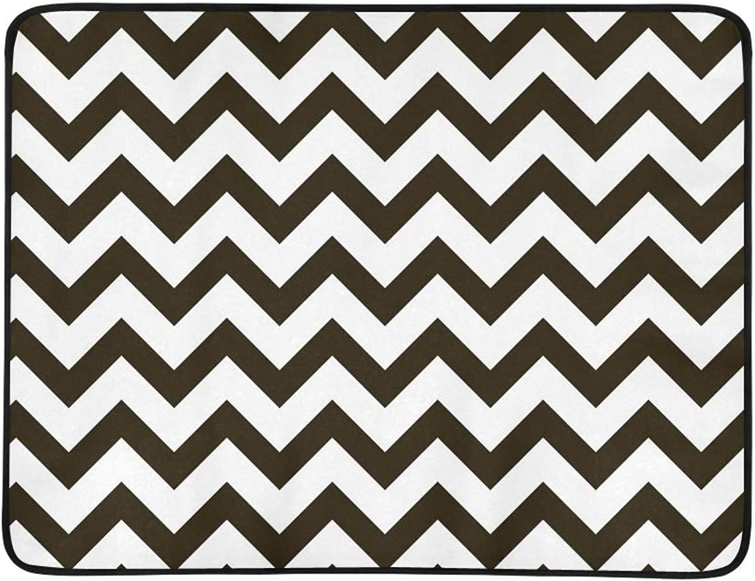 Zigzag Classic Chevron Portable and Foldable Blanket Mat 60x78 Inch Handy Mat for Camping Picnic Beach Indoor Outdoor Travel
