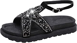 PAQOZ Women's Sandals, Summer Bling Sequined Cloth Round Toe Sandals Casual Shoes