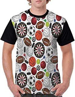 Raglan Baseball Tee Short Sleeve,Sports Decor Collection,Pattern with Billiards Balls Hockey Pucks Darts Arrows and Target Boards Image,Orange White Burgundy S-XXL Men Fashion Shirts