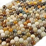 Beads Ok, Abalorios Cuentas Piedra Semipreciosa Jade Serpentina Naturales Esferas Bola Redonda 8mm Cerca de 38cm un Tira, Vendido por Tira. 8mm Round Natural Serpentine Jade Gemstone Beads