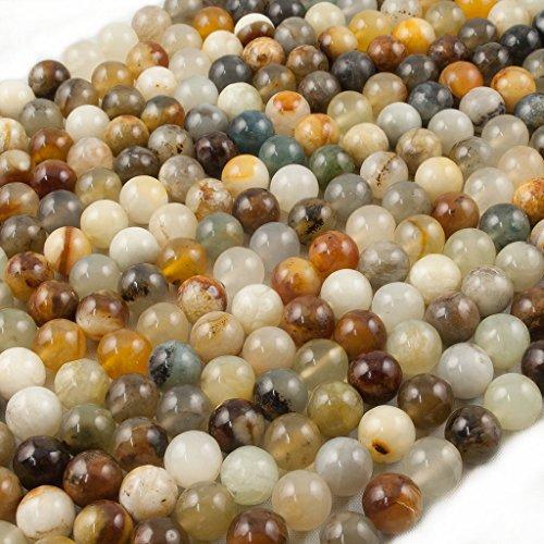 Beads Ok, Abalorios Cuentas Bolitas Bolas de Piedra Semipreciosa Jade Serpentina Naturales Redonda Lisa 8mm Cerca de 38cm un Hilo, Vendido por Hilo. 8mm Round Natural Serpentine Jade Gemstone