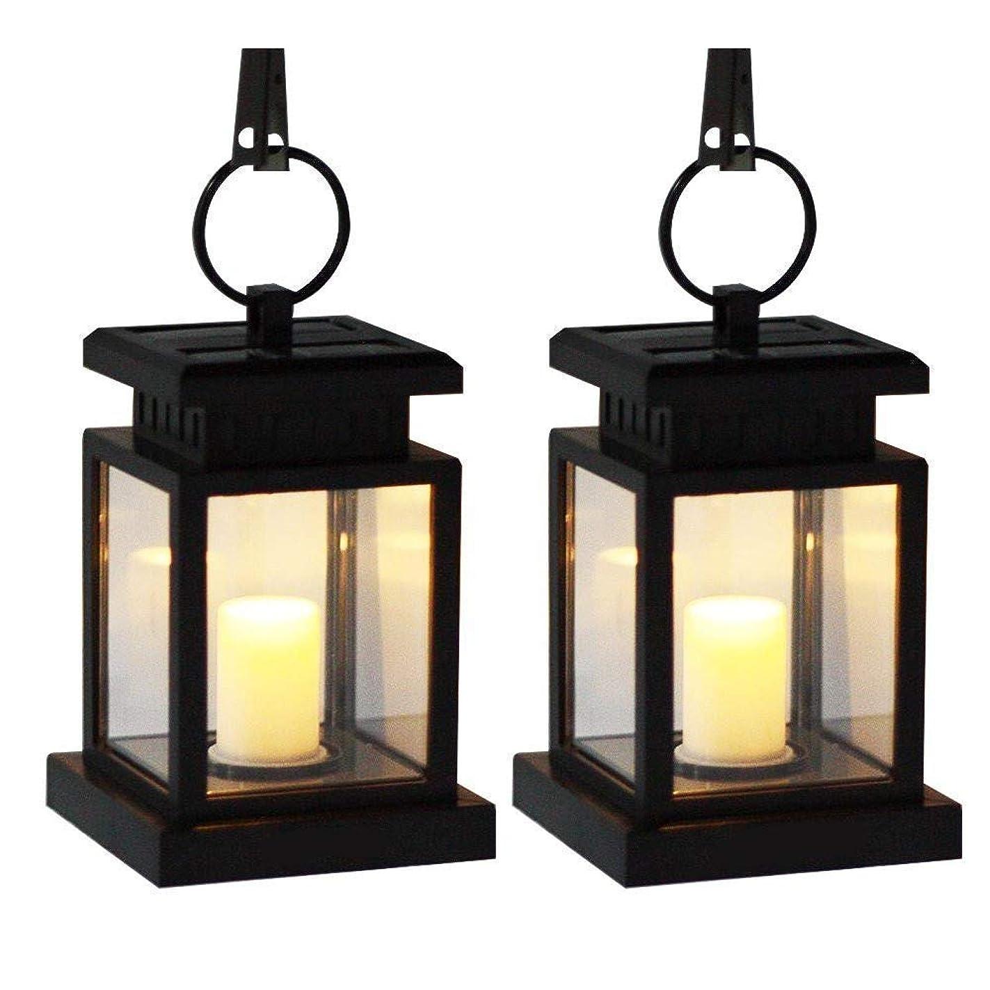 AMEI Solar Lantern, Solar LED Deck Light, Outdoor Hanging Solar Garden Light, Patio Lanterns, Yard Decorations,Hanging Solar Lantern with Clamp for Patio Umbrella Deck Lighting & Decoration (2 Pack)