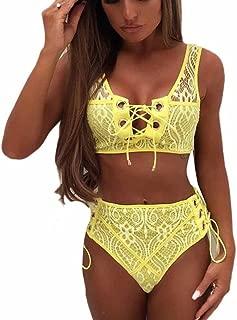 TOTOD Women Bikini Women Lace High Waist Swimsuit Bikini Set Push Up Swimwear Banting Suit Swim