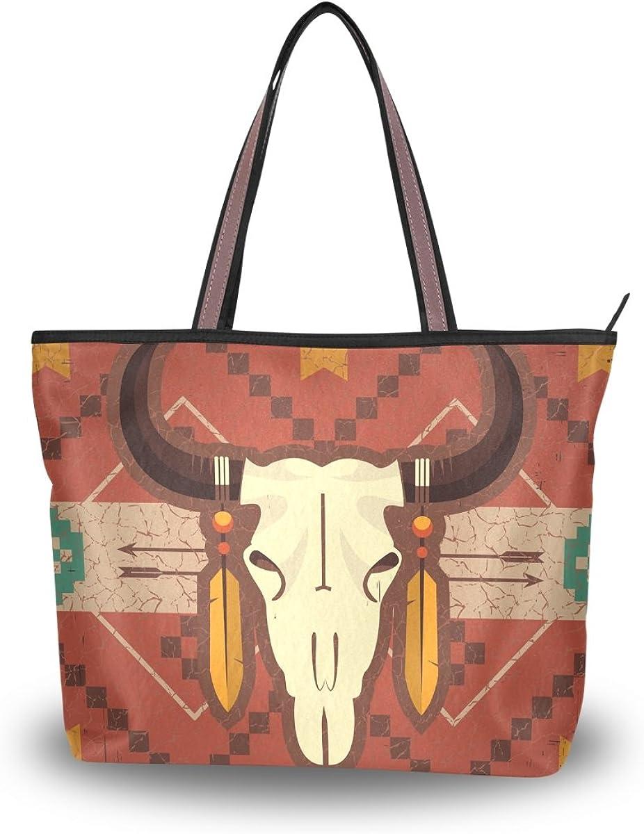 JSTEL Women Large Tote Top Handle Shoulder Bags Ngau Tau Art Patern Ladies Handbag L