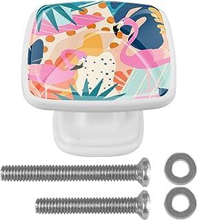 Paquet de 4 boutons d'armoire de cuisine, boutons pour tiroirs de commode Affiche des feuilles tropicales de la jungle ave...