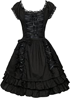 Black Lace up Lolita Costume Dress Girls Women Princess Gothic Fancy Dress up Cosplay Skirts