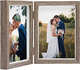 Afuly Double Picture Frame 5x7 Vertical Rustic Wooden Hinged Photo Frames 2 Opening for Tabletop Display Wedding Thanksgiving Gifts