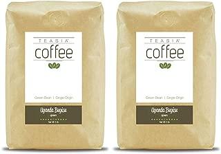 Teasia Coffee, Uganda Bugisu, Single Origin Fair Trade, Green Unroasted Whole Coffee Beans, 5-Pound Bag (2-Pack)