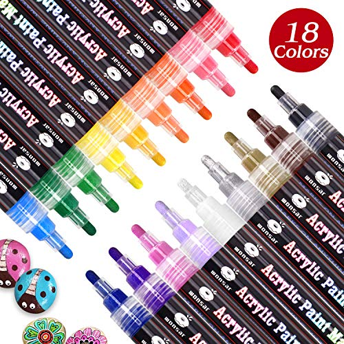 Acrylstifte Marker Stifte, 18 Farben Wasserfest Paint Marker, Acrylstifte für Steine Bemalen Kinder DIY Keramik Glas Porzellan Metall Kunststoff Holz Leinwand mit Reversiblen Spitze