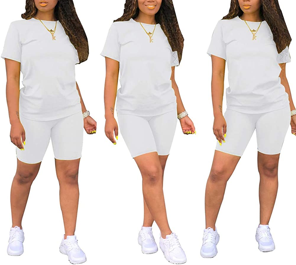 Ophestin Womens Casual Two Piece Outfits Solid Short Sleeve Top Crop Pants Set