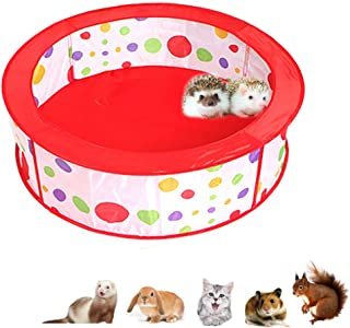 Hamster Playpen, Foldable Exercise Pen, Guinea-Pigs Portable Circular Wire Yard Fence, Pet Red Pot Cage House Pop Up Pen Ideal for Puppy, Kitty, Bunny, Hedgehogs and Other Small Animal, Outdoor/Indoor