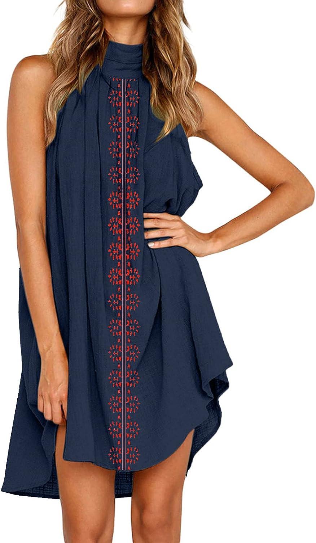 Floral Dress for Women, Women's Printed Halter Neck Casual Dress Sleeveless Summer Dresses Beach Party Mini Sundress