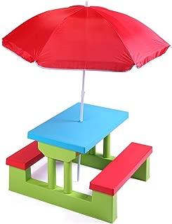 TOBBI Colorful Kids Picnic Table Bench Set Portable Garden Yard Bench w/ Removable Umbrella