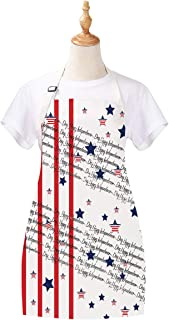 Ikfashoni American Flag Apron, Star-Spangled Banner Women Apron, Waterproof Durable Apron for Women Girls, 27.6 x 31.5 inches