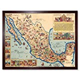 Pictorial Map of Mexico 1931 Vintage Art Print Framed