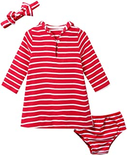 SMILING PINKER Baby Girls Striped Dress, Headband and Panty 3 Piece Outfits Set