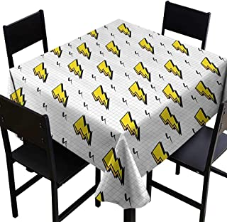 SKDSArts Square Tablecloth Black Vintage Decor Collection,Retro Flash Electric Icons with Chequer Funky Lines Weather Batman Boom Pop Art Comic,White Yellow,W70 x L70 Square Tablecloth