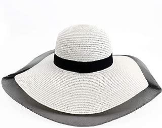 Lady's Sun hat Straw Hat Seaside Outdoor Beach Big Sun Hat Elegant Mesh Sunscreen Shade Travel Furious Big Edge Nerveless Hat Sun hat (Color : White, Size : 56-58CM)